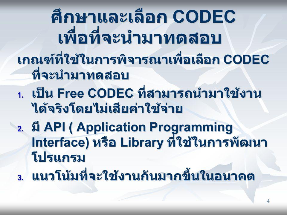ศึกษาและเลือก CODEC เพื่อที่จะนำมาทดสอบ
