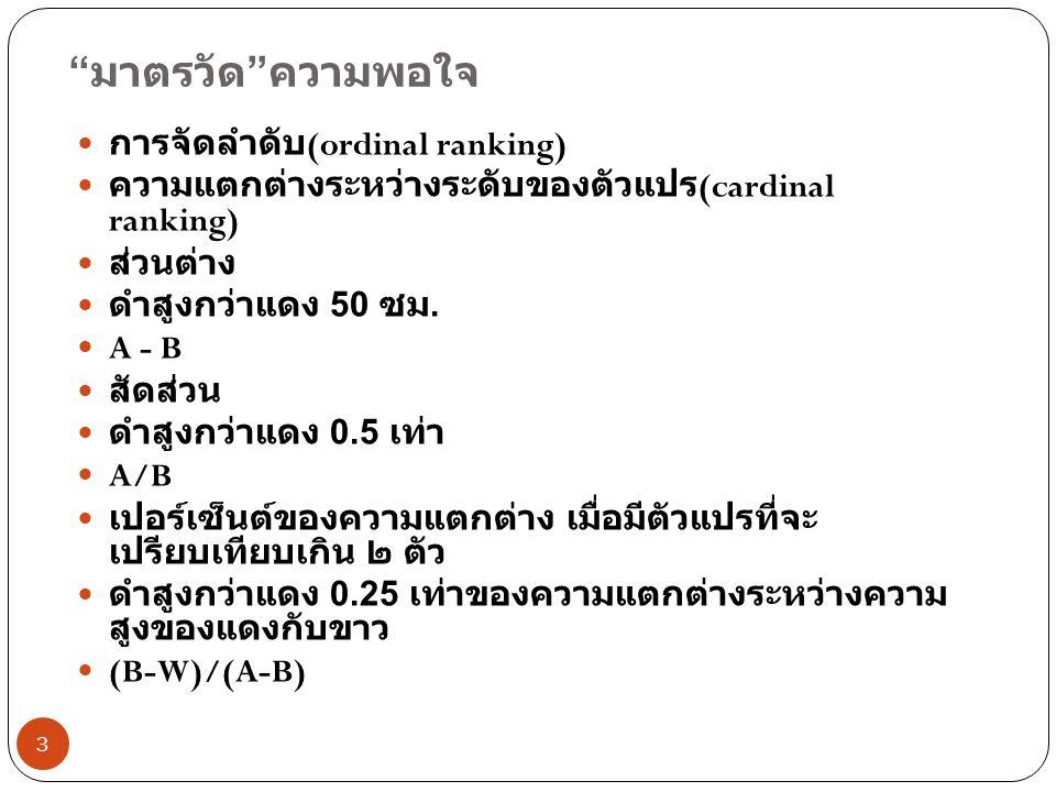 มาตรวัด ความพอใจ การจัดลำดับ(ordinal ranking)