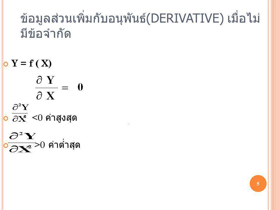 ข้อมูลส่วนเพิ่มกับอนุพันธ์(DERIVATIVE) เมื่อไม่มีข้อจำกัด