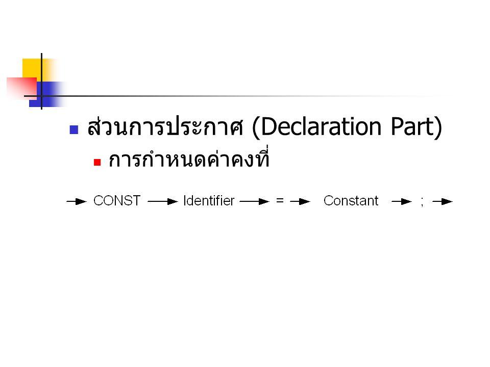 ส่วนการประกาศ (Declaration Part)