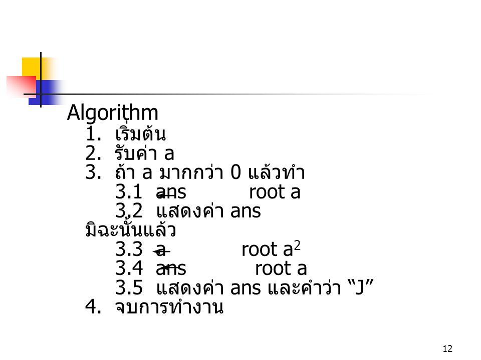 Algorithm 1. เริ่มต้น 2. รับค่า a 3. ถ้า a มากกว่า 0 แล้วทำ