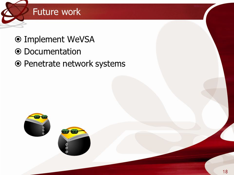 Future work Implement WeVSA Documentation Penetrate network systems