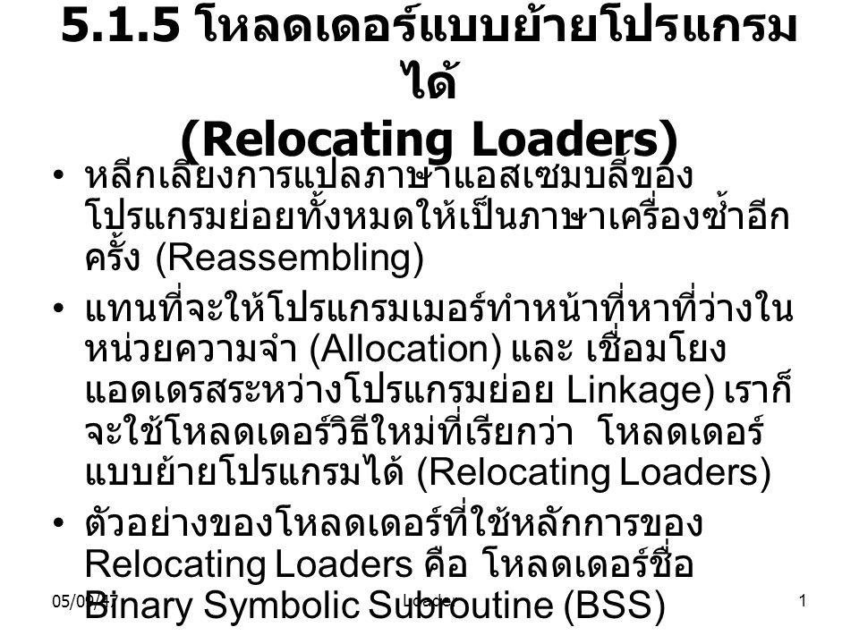 5.1.5 โหลดเดอร์แบบย้ายโปรแกรมได้ (Relocating Loaders)