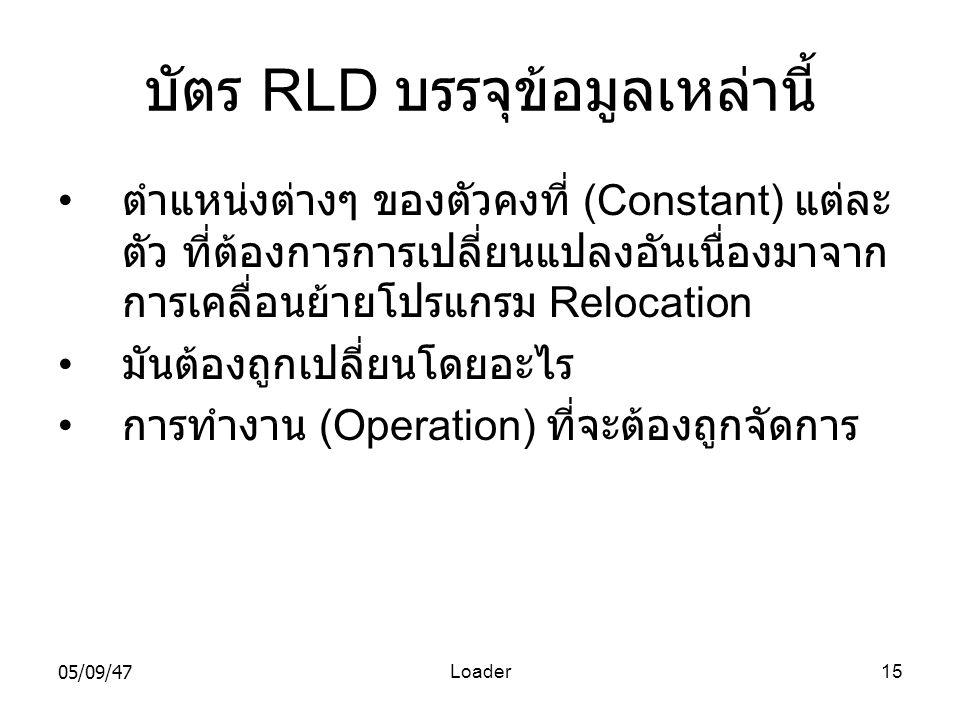 บัตร RLD บรรจุข้อมูลเหล่านี้
