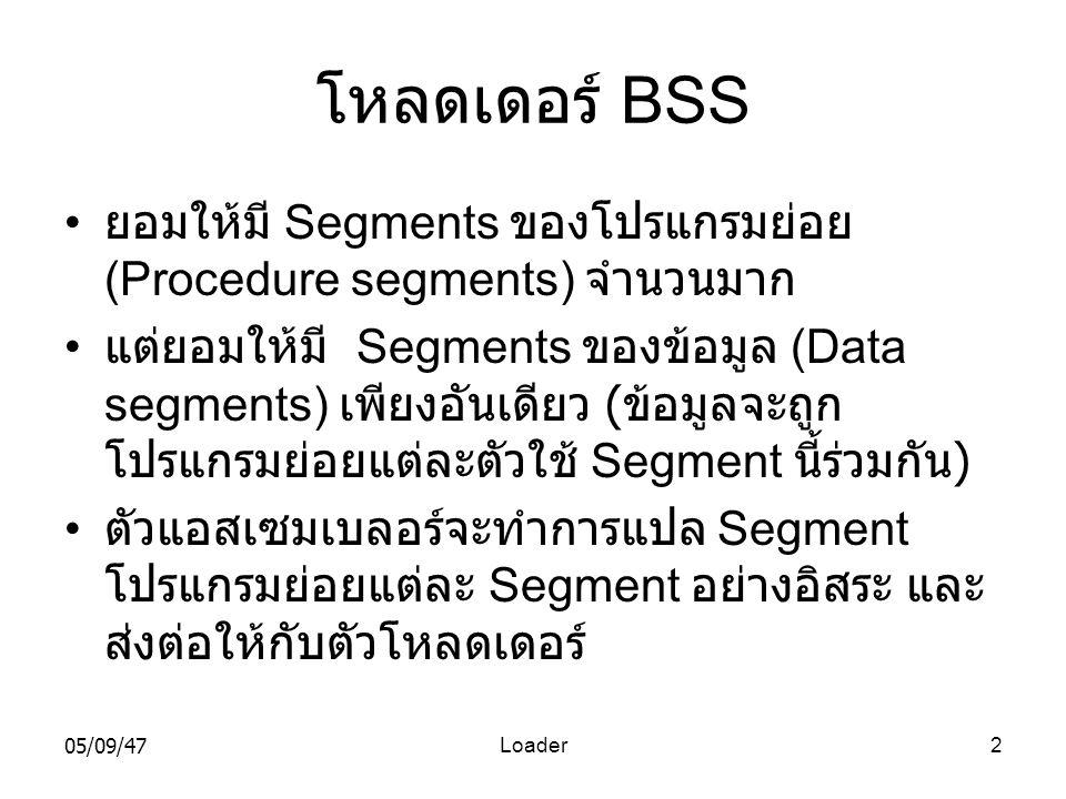 โหลดเดอร์ BSS ยอมให้มี Segments ของโปรแกรมย่อย (Procedure segments) จำนวนมาก.