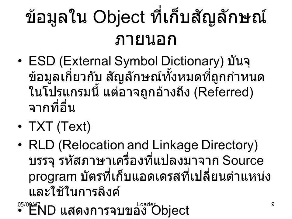 ข้อมูลใน Object ที่เก็บสัญลักษณ์ภายนอก