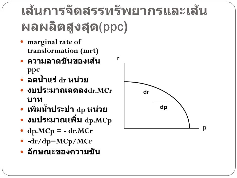 เส้นการจัดสรรทรัพยากรและเส้นผลผลิตสูงสุด(ppc)