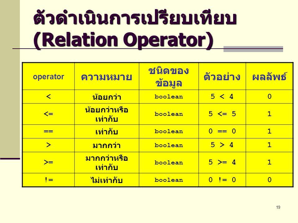 ตัวดำเนินการเปรียบเทียบ (Relation Operator)