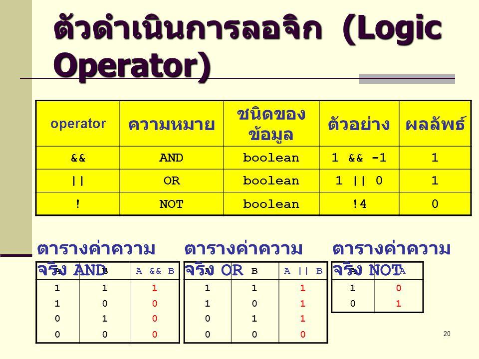 ตัวดำเนินการลอจิก (Logic Operator)