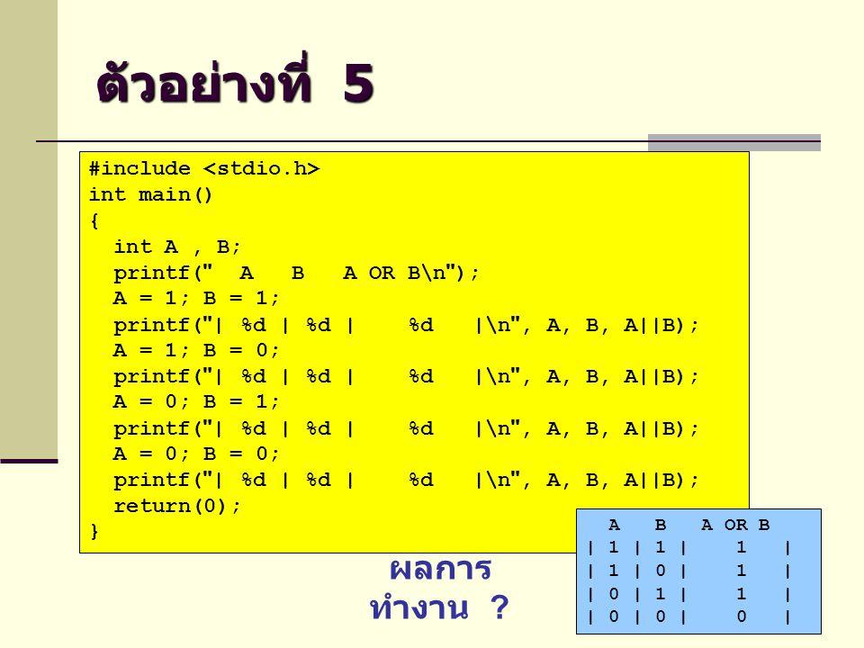 ตัวอย่างที่ 5 ผลการทำงาน #include <stdio.h> int main() {