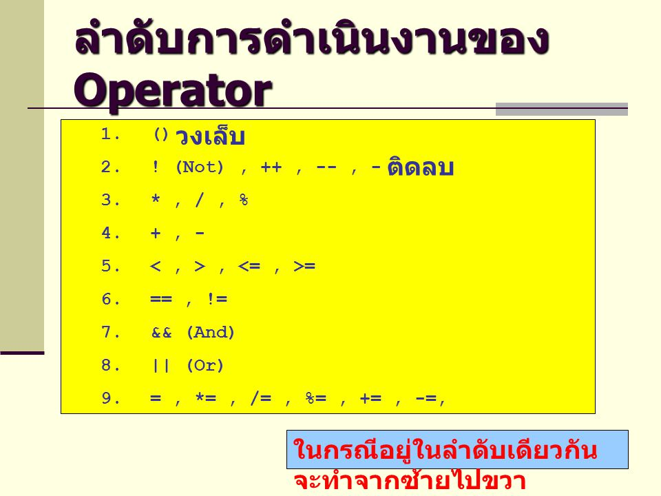 ลำดับการดำเนินงานของ Operator