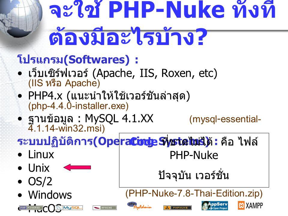 จะใช้ PHP-Nuke ทั้งทีต้องมีอะไรบ้าง