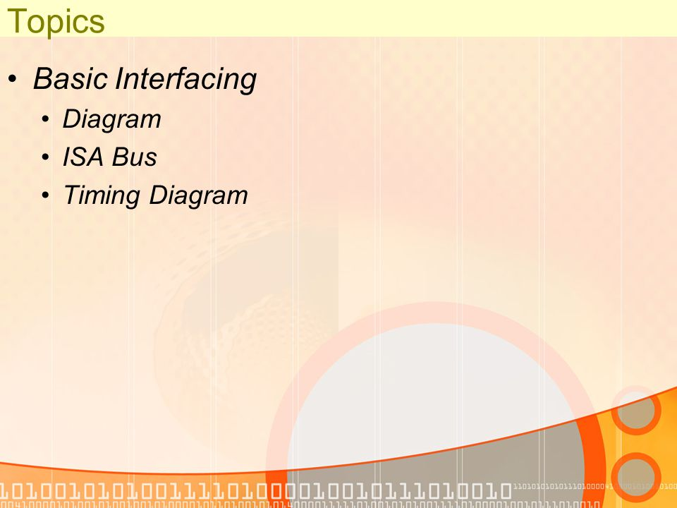 Topics Basic Interfacing Diagram ISA Bus Timing Diagram