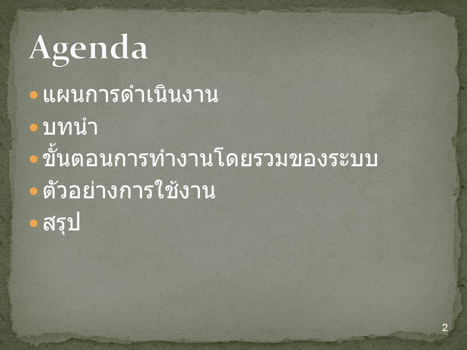 Agenda แผนการดำเนินงาน บทนำ ขั้นตอนการทำงานโดยรวมของระบบ