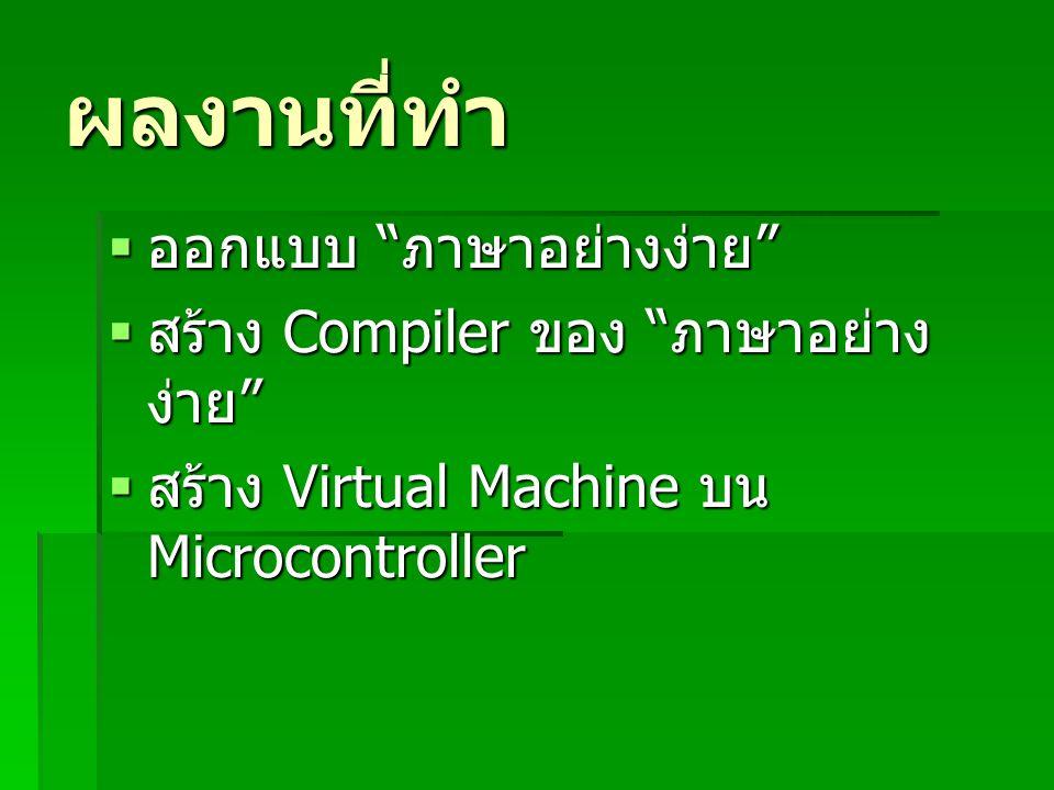 ผลงานที่ทำ ออกแบบ ภาษาอย่างง่าย สร้าง Compiler ของ ภาษาอย่างง่าย