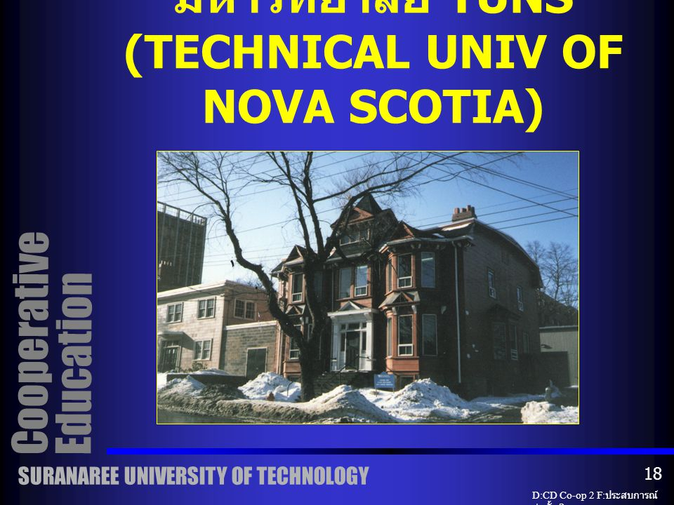 CO-OP OFFICE มหาวิทยาลัย TUNS (TECHNICAL UNIV OF NOVA SCOTIA)
