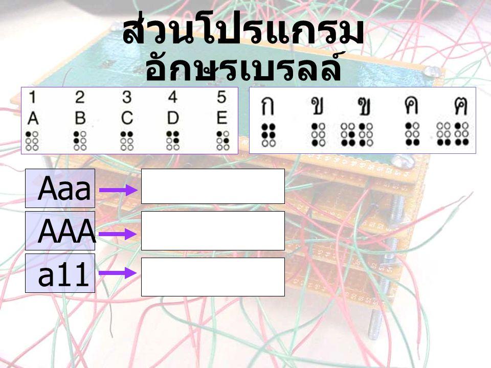 ส่วนโปรแกรม อักษรเบรลล์ Aaa AAA a11