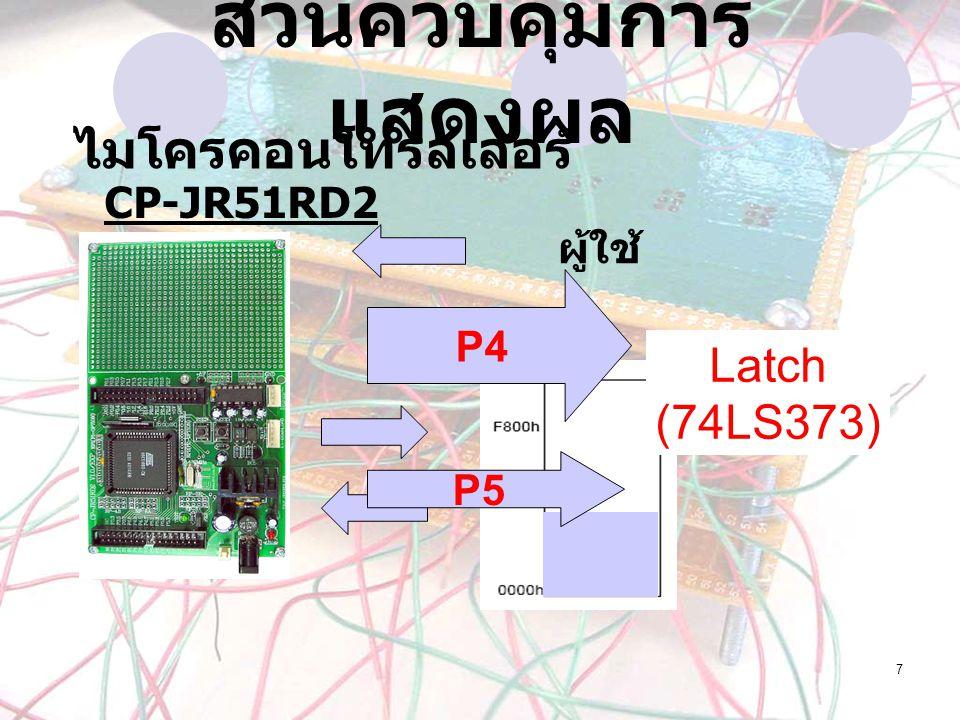 ส่วนควบคุมการแสดงผล ไมโครคอนโทรลเลอร์ Latch (74LS373) CP-JR51RD2