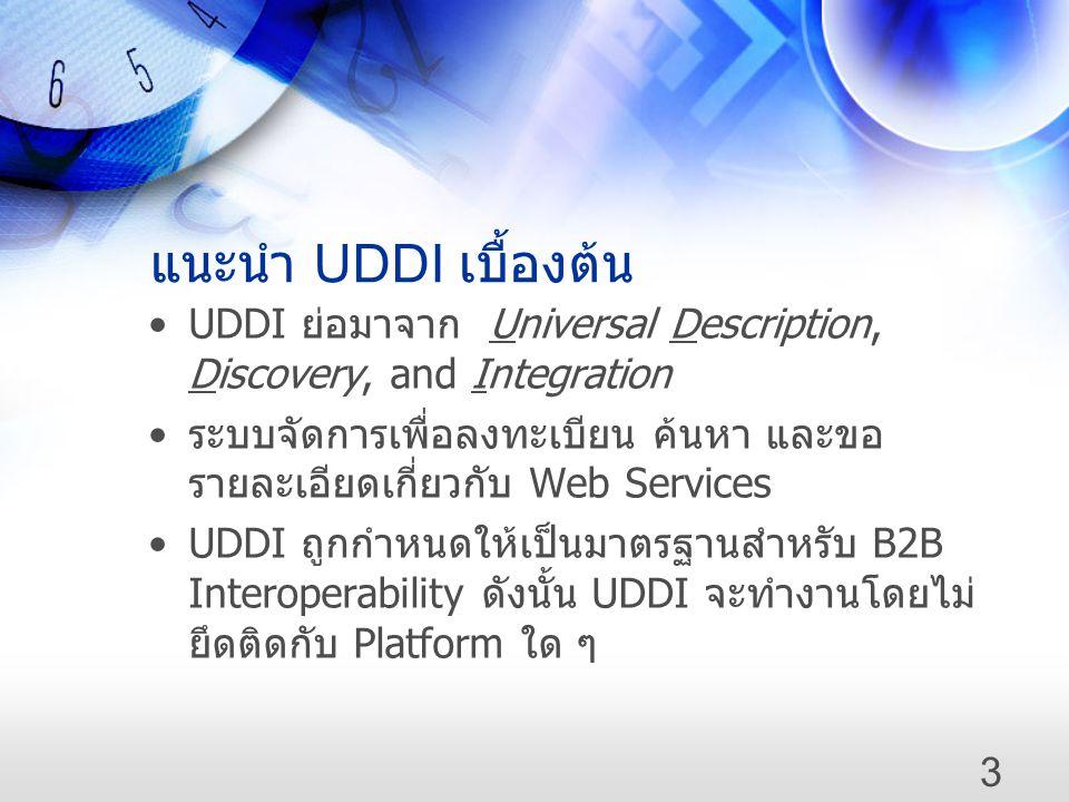 แนะนำ UDDI เบื้องต้น UDDI ย่อมาจาก Universal Description, Discovery, and Integration.