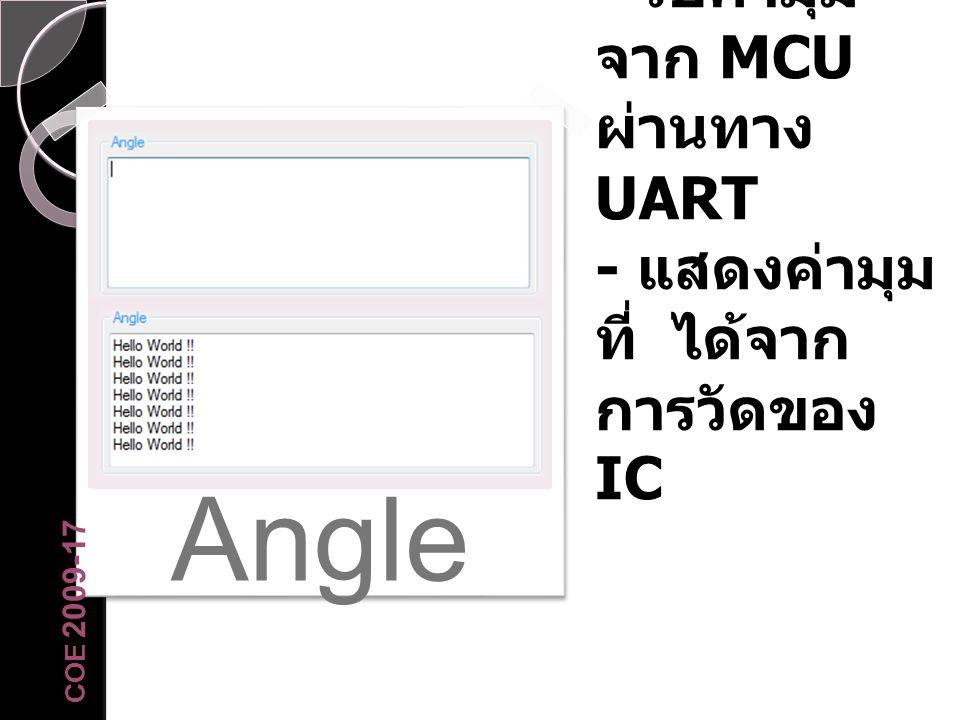 Angle - รับค่ามุมจาก MCU ผ่านทาง UART - แสดงค่ามุมที่ ได้จากการวัดของ IC