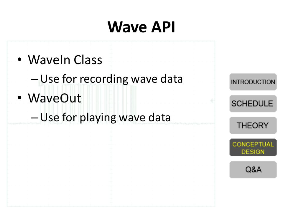Wave API WaveIn Class WaveOut Use for recording wave data