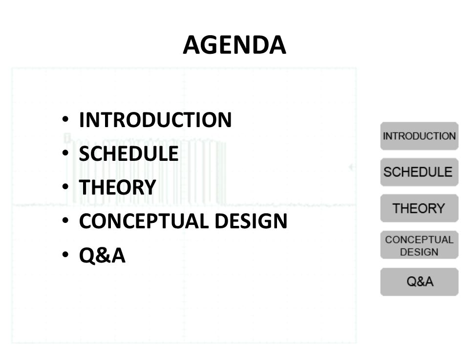 AGENDA INTRODUCTION SCHEDULE THEORY CONCEPTUAL DESIGN Q&A