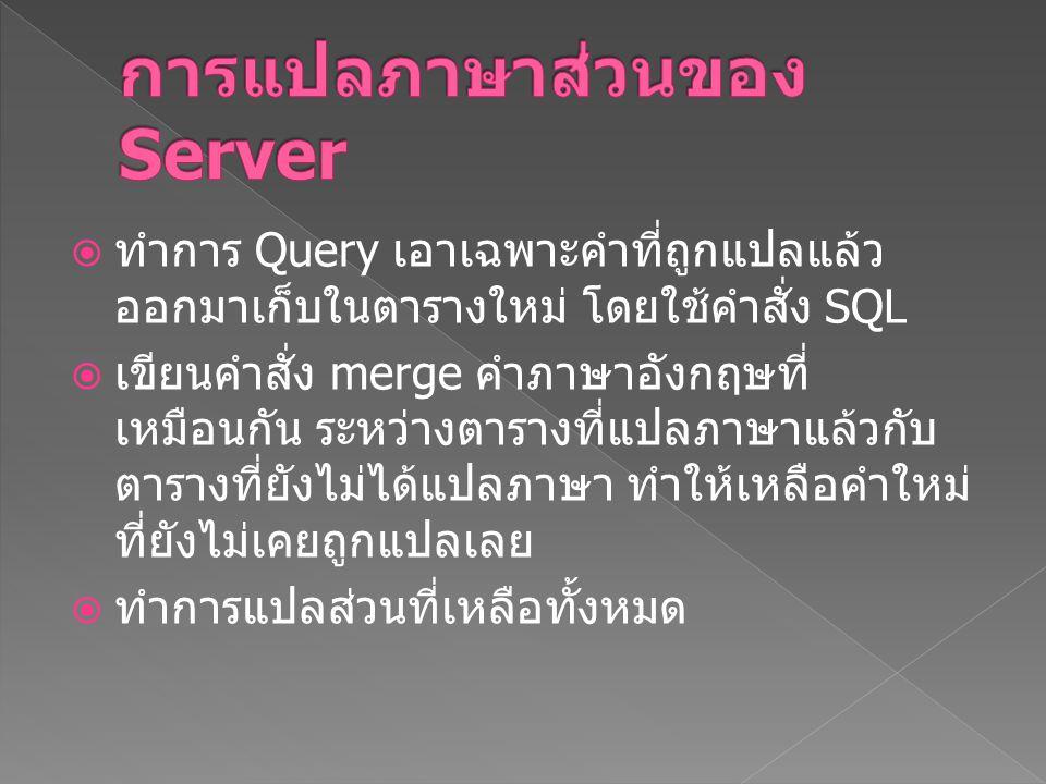 การแปลภาษาส่วนของ Server
