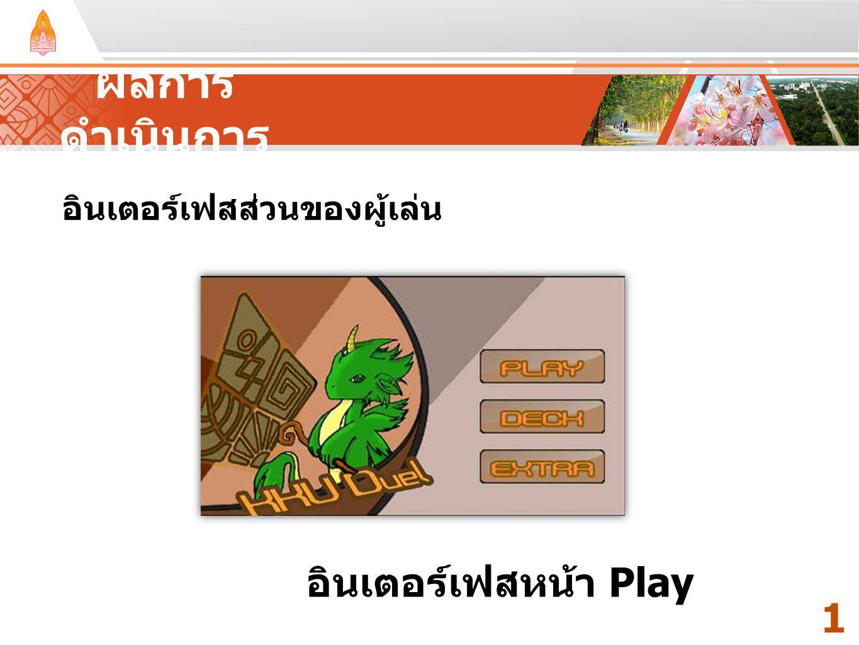 ผลการดำเนินการ อินเตอร์เฟสหน้า Play 11 อินเตอร์เฟสส่วนของผู้เล่น