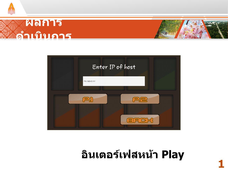 ผลการดำเนินการ Your Text Here Your Text Here อินเตอร์เฟสหน้า Play 12