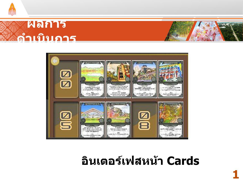 ผลการดำเนินการ Your Text Here Your Text Here อินเตอร์เฟสหน้า Cards 17