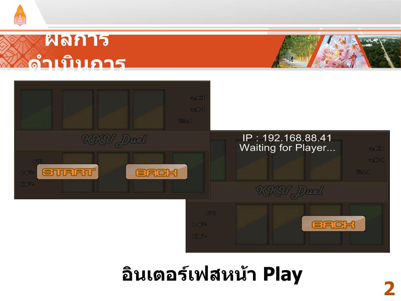 ผลการดำเนินการ Your Text Here Your Text Here อินเตอร์เฟสหน้า Play 23