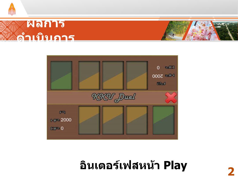 ผลการดำเนินการ Your Text Here Your Text Here อินเตอร์เฟสหน้า Play 25