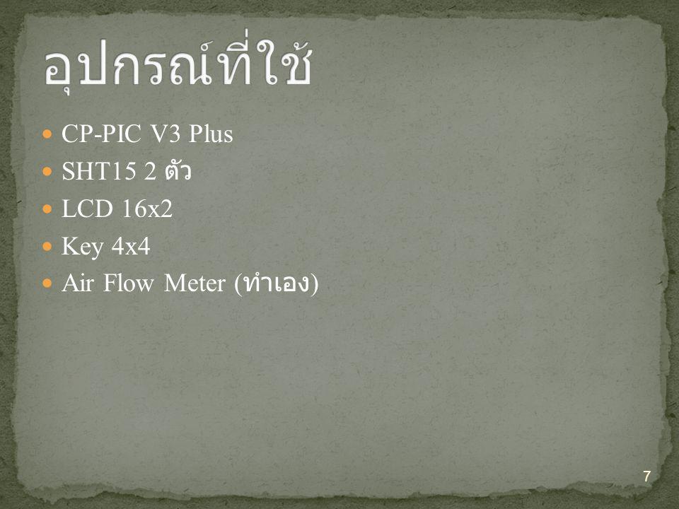 อุปกรณ์ที่ใช้ CP-PIC V3 Plus SHT15 2 ตัว LCD 16x2 Key 4x4