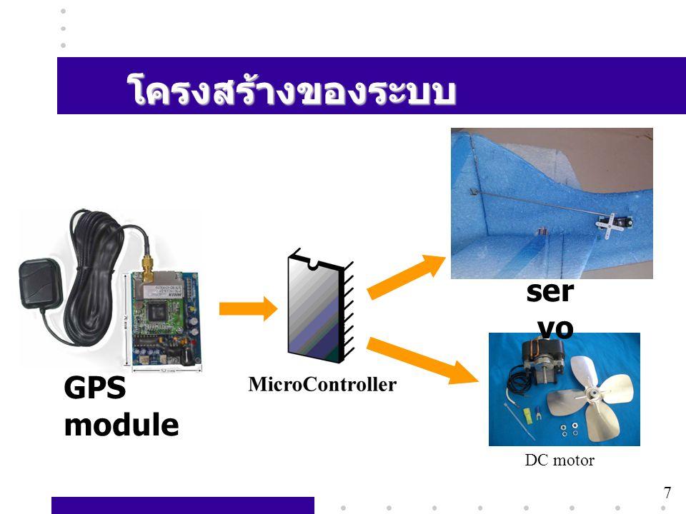 โครงสร้างของระบบ servo GPS module DC motor 7