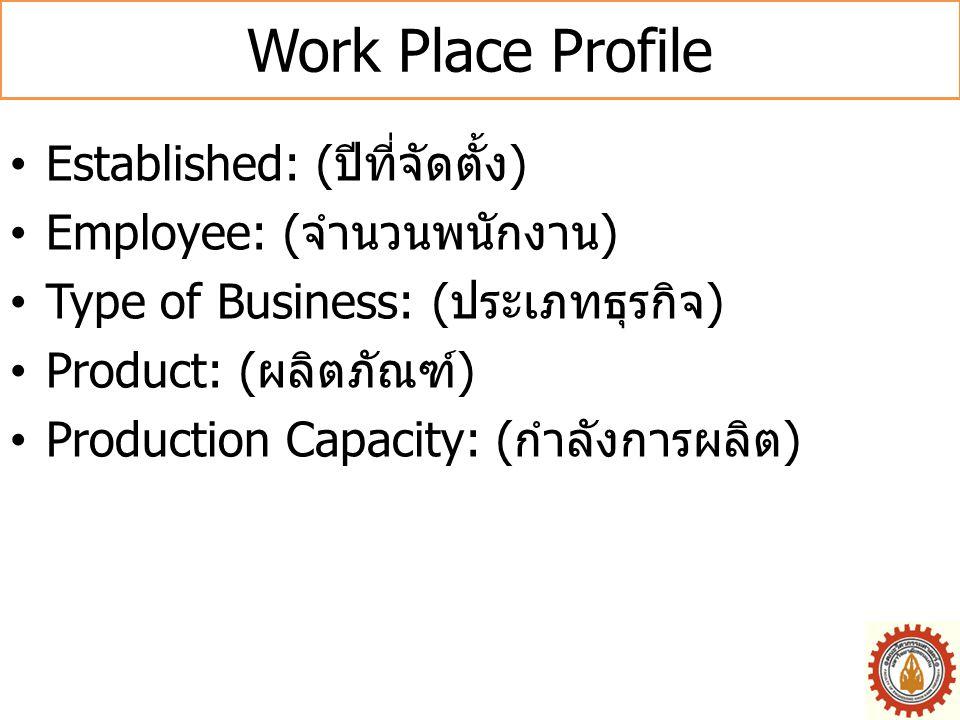 Work Place Profile Established: (ปีที่จัดตั้ง)