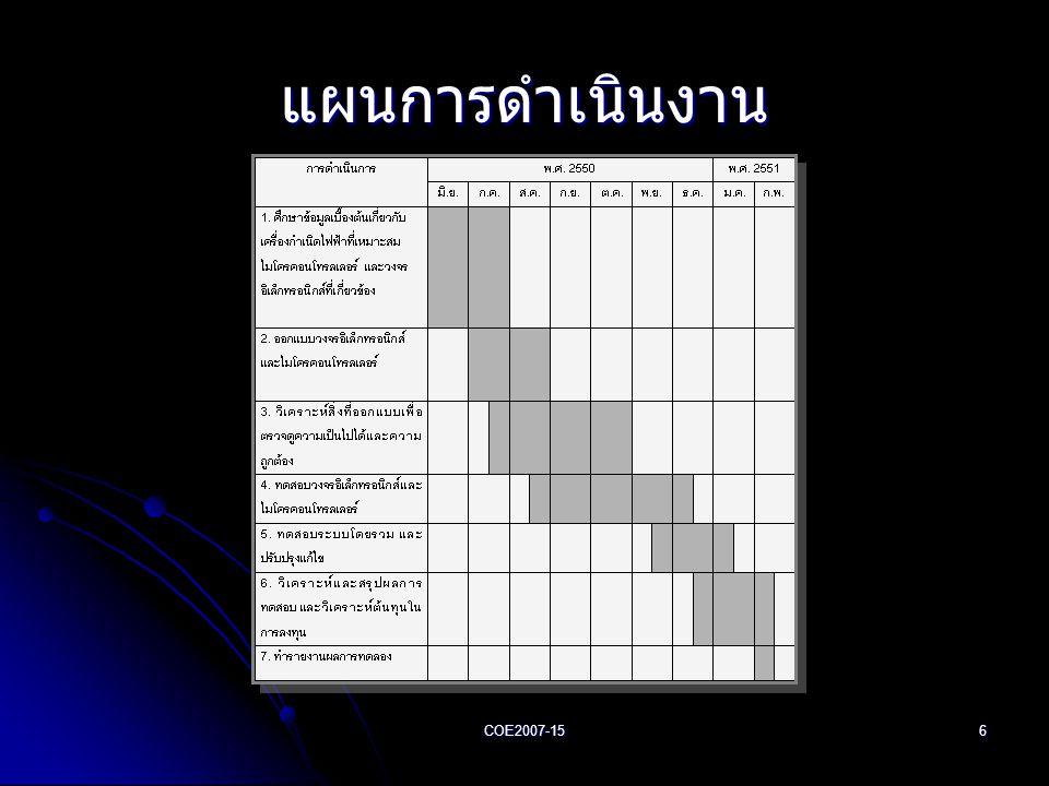 แผนการดำเนินงาน COE2007-15