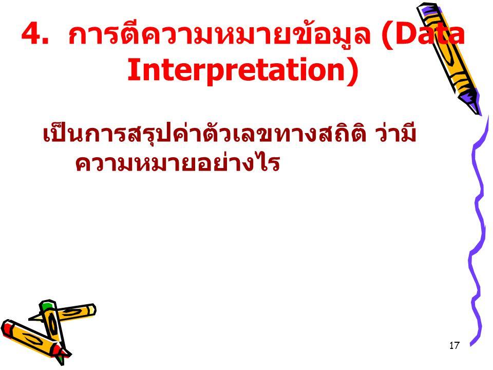 4. การตีความหมายข้อมูล (Data Interpretation)
