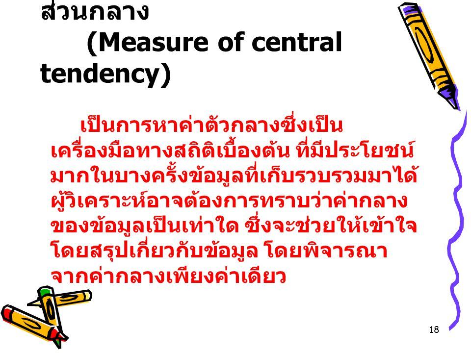 1.8 การวัดแนวโน้มเข้าสู่ส่วนกลาง (Measure of central tendency)