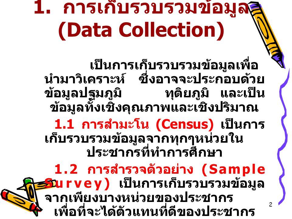1. การเก็บรวบรวมข้อมูล (Data Collection)