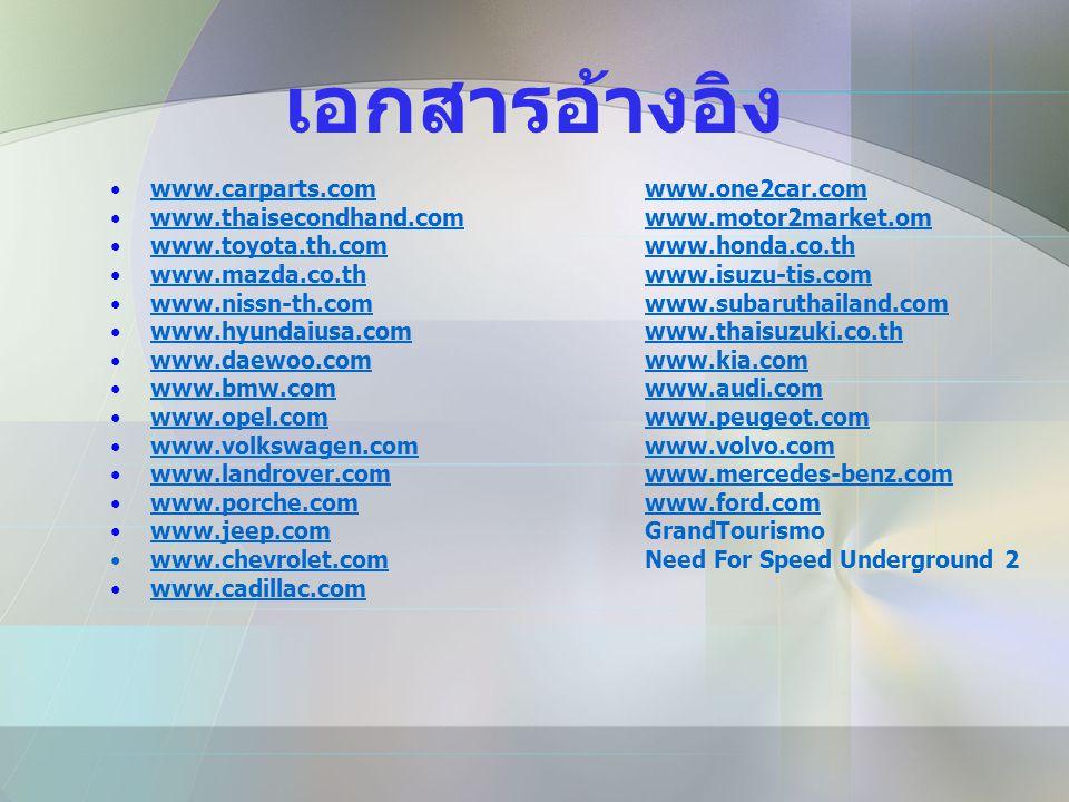 เอกสารอ้างอิง www.carparts.com www.one2car.com