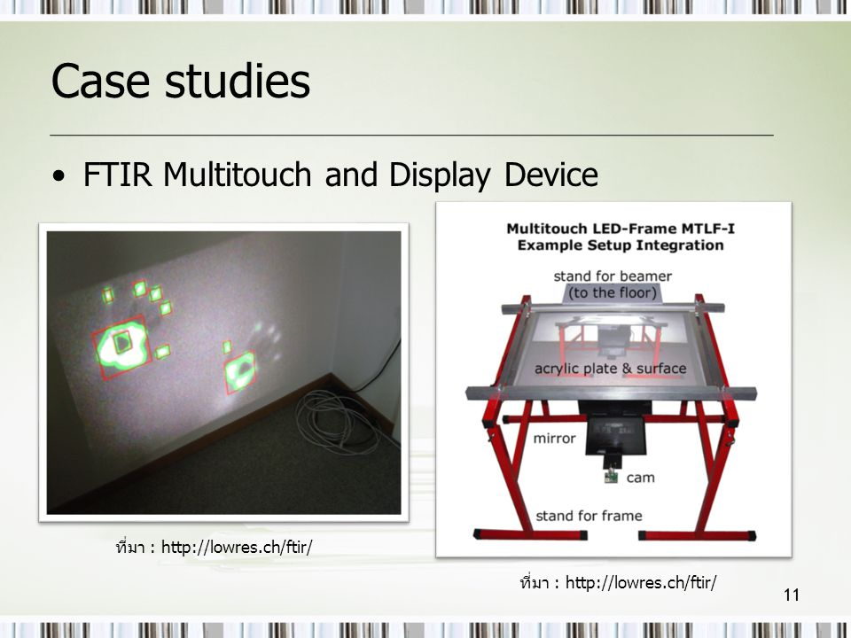 Case studies FTIR Multitouch and Display Device