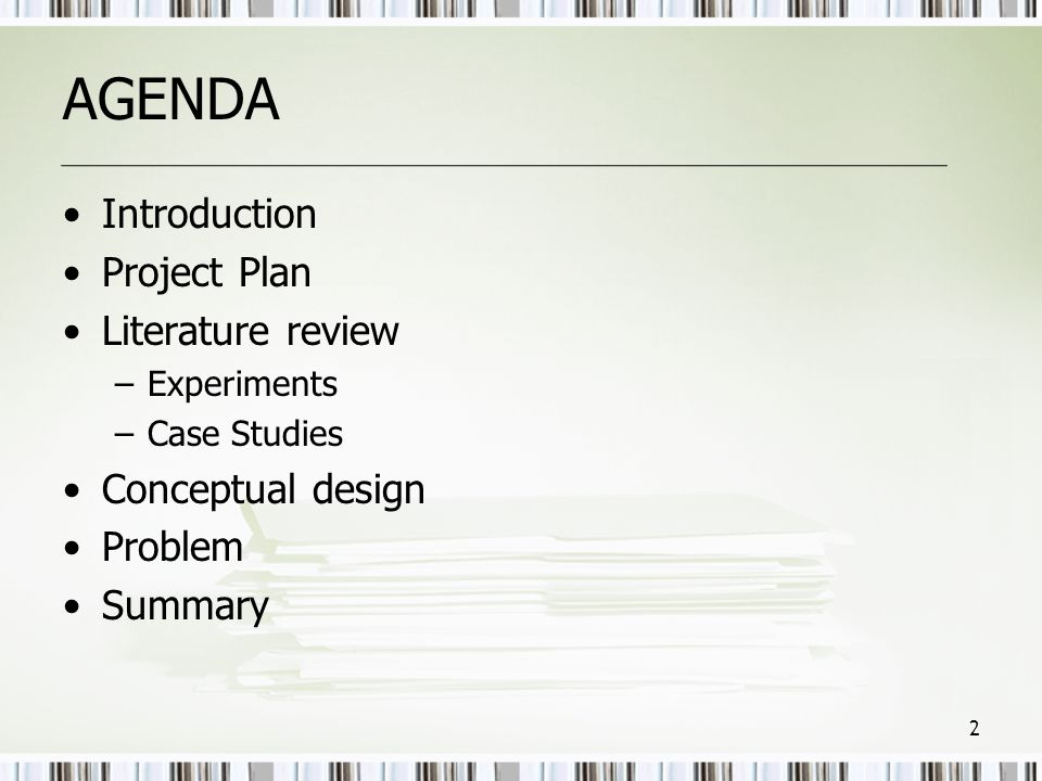 AGENDA Introduction Project Plan Literature review Conceptual design