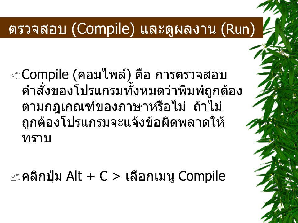 ตรวจสอบ (Compile) และดูผลงาน (Run)