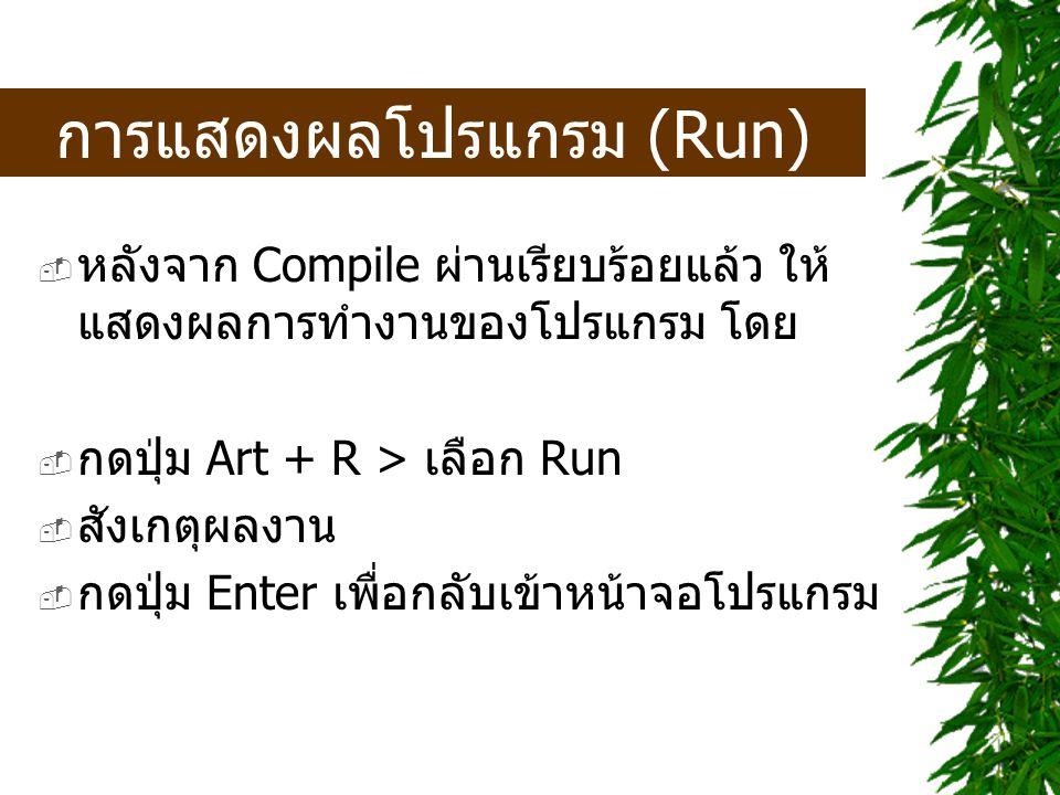 การแสดงผลโปรแกรม (Run)