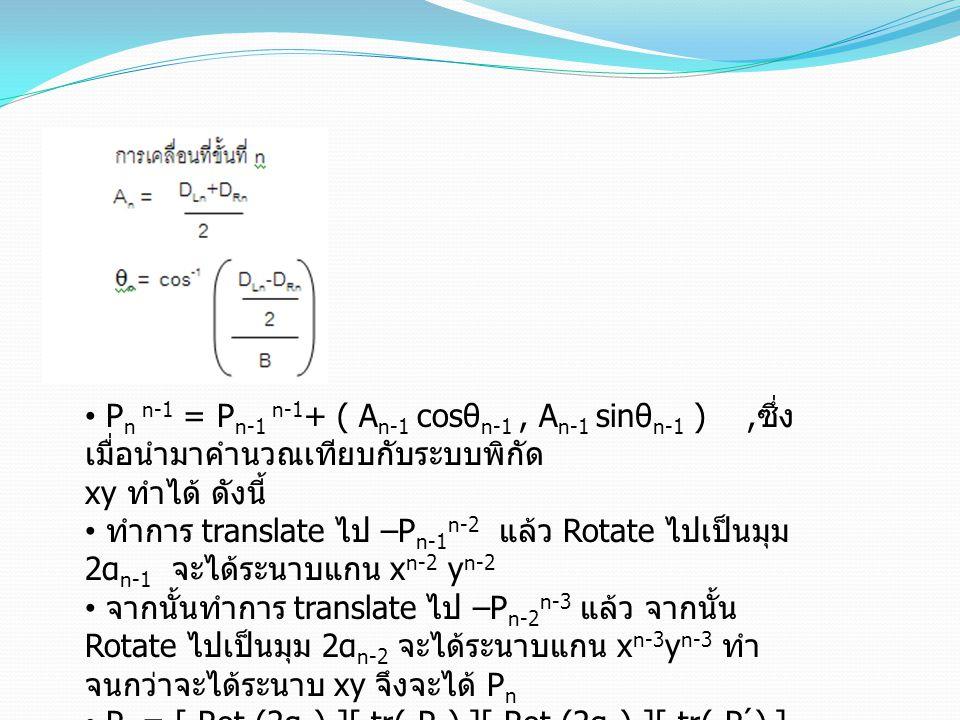 Pn n-1 = Pn-1 n-1+ ( An-1 cosθn-1 , An-1 sinθn-1 ) ,ซึ่งเมื่อนำมาคำนวณเทียบกับระบบพิกัด