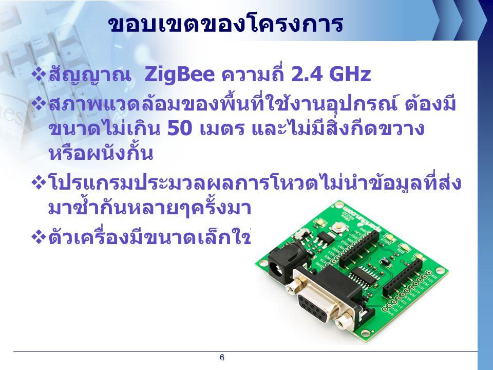 ขอบเขตของโครงการ สัญญาณ ZigBee ความถี่ 2.4 GHz