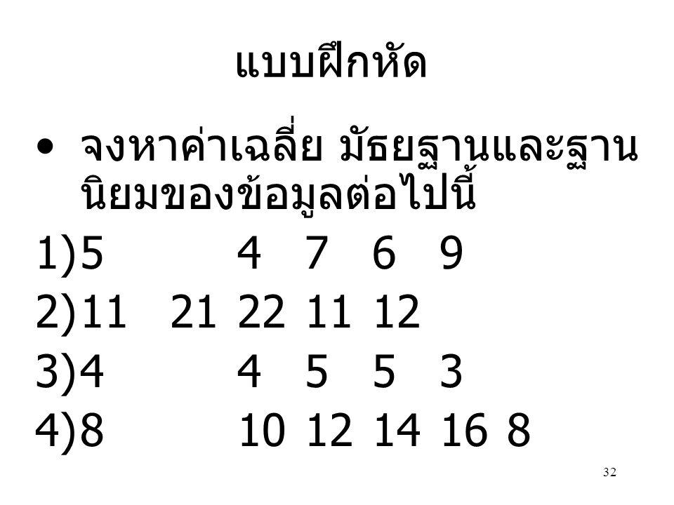 แบบฝึกหัด จงหาค่าเฉลี่ย มัธยฐานและฐานนิยมของข้อมูลต่อไปนี้ 5 4 7 6 9. 11 21 22 11 12. 4 4 5 5 3.