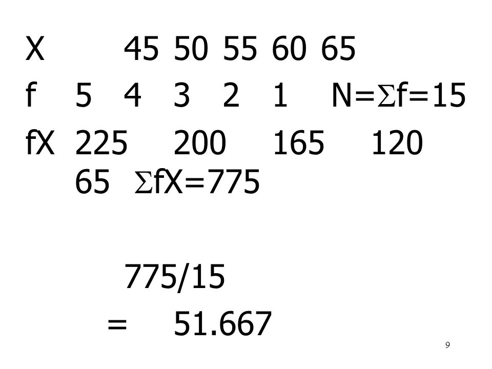 X 45 50 55 60 65 f 5 4 3 2 1 N=f=15 fX 225 200 165 120 65 fX=775 775/15 = 51.667