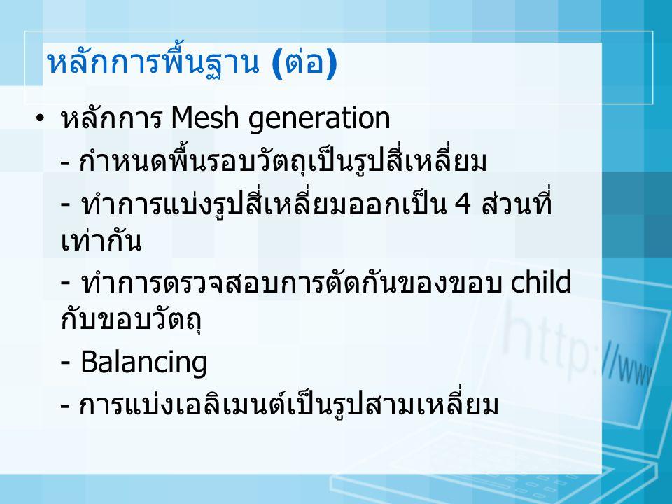 หลักการพื้นฐาน (ต่อ) หลักการ Mesh generation