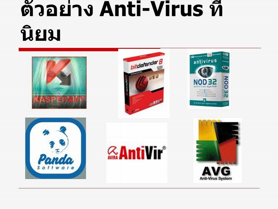ตัวอย่าง Anti-Virus ที่นิยม